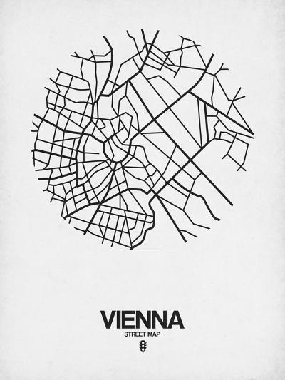 Vienna Street Map White-NaxArt-Art Print