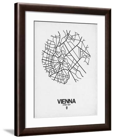 Vienna Street Map White-NaxArt-Framed Art Print