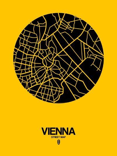 Vienna Street Map Yellow-NaxArt-Art Print