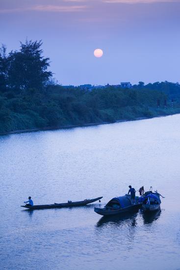 Vietnam, Dmz Area. Dong Ha, Cam Lo River, Boats at Sunset-Walter Bibikow-Photographic Print