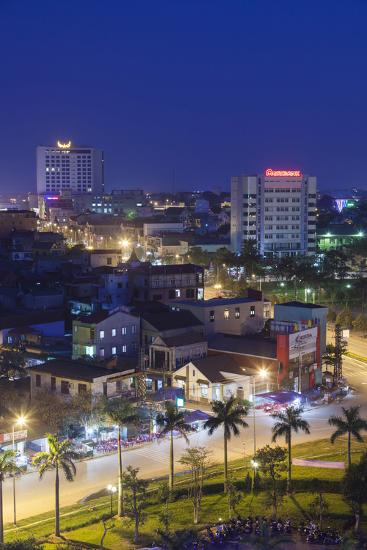 Vietnam, Dmz Area. Dong Ha, Elevated City View, Dusk-Walter Bibikow-Photographic Print