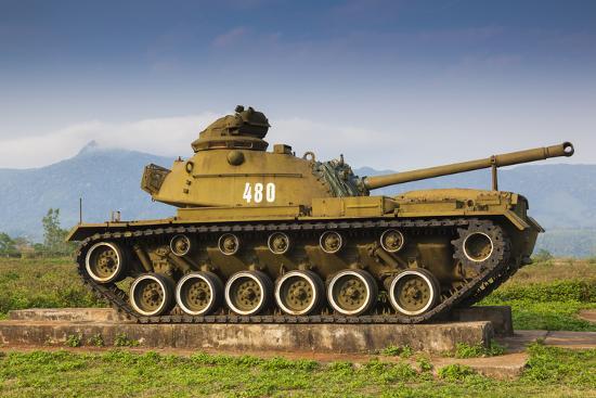 Vietnam, Dmz Area. Quang Tri Province, Khe Sanh, Exterior Display of Us Army Tank-Walter Bibikow-Photographic Print
