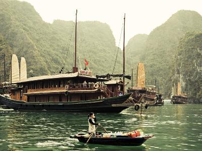 Vietnam, Halong Bay and Tourist Junk Boat-Steve Vidler-Photographic Print