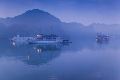 Vietnam, Halong Bay, Tourist Boats, Dawn-Walter Bibikow-Photographic Print