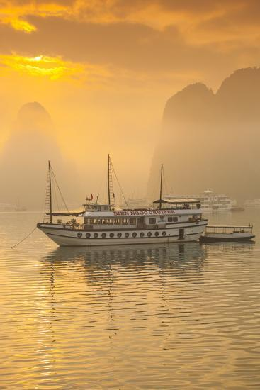 Vietnam, Halong Bay, Tourist Boats, Sunrise-Walter Bibikow-Photographic Print
