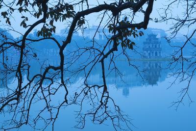 Vietnam, Hanoi. Hoan Kiem Lake and Thap Rua, Turtle Pagoda-Walter Bibikow-Photographic Print