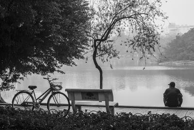 Vietnam, Hanoi. Hoan Kiem Lake with People-Walter Bibikow-Photographic Print