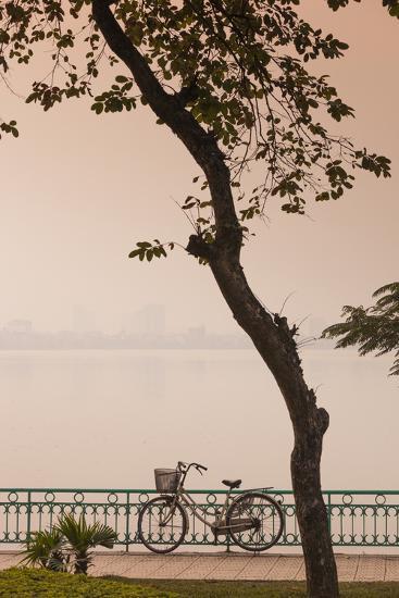 Vietnam, Hanoi. Tay Ho, West Lake, Bicycle-Walter Bibikow-Photographic Print