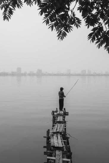 Vietnam, Hanoi. Tay Ho, West Lake, Fisherman-Walter Bibikow-Photographic Print