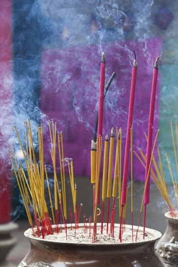 Vietnam, Ho Chi Minh City. Cholon, Chinatown Area, Thien Hau Pagoda, Burning Incense-Walter Bibikow-Photographic Print