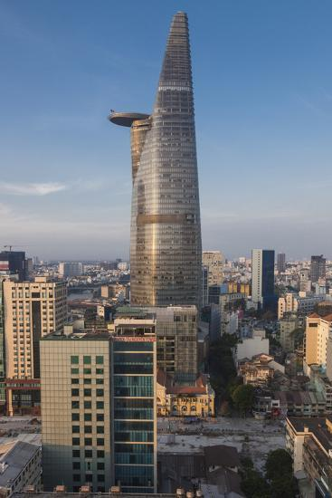 Vietnam, Ho Chi Minh City. Elevated City View with Bitexco Tower, Dawn-Walter Bibikow-Photographic Print