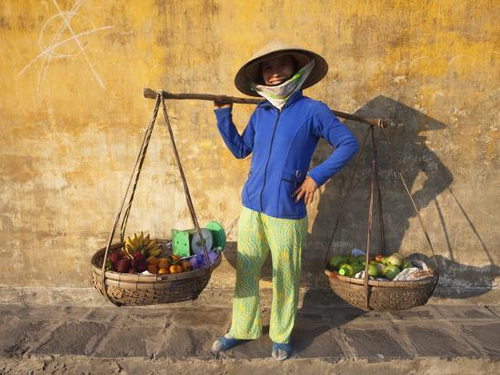 Vietnam, Hoi An, Fruit Vendor-Steve Vidler-Photographic Print