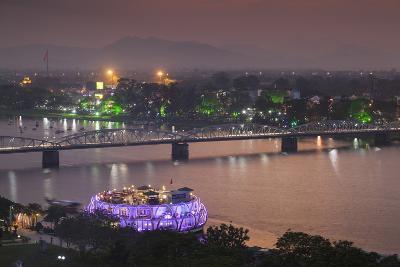 Vietnam, Hue. Trang Tien Bridge and Perfume River, Elevated View, Dusk-Walter Bibikow-Photographic Print