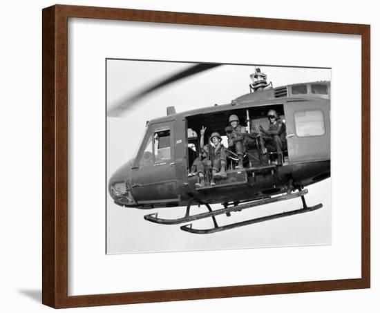 Vietnam War U.S. GI Peace Sign-Associated Press-Framed Photographic Print