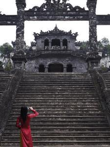 Vietnamese Schoolgirl Taking Picture of Khai Dinh's Tomb, Hue, Vietnam, Indochina, Southeast Asia,