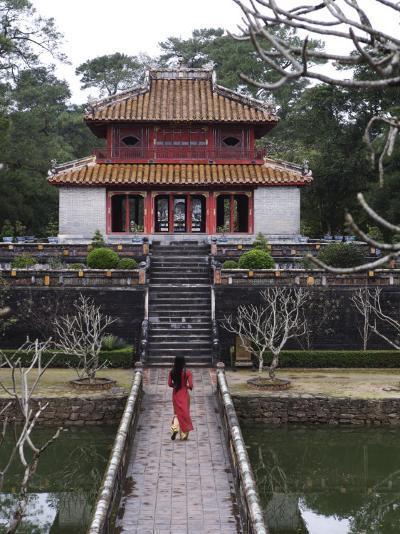 Vietnamese Schoolgirl Walking over Bridge to Minh Lau Pavilion, Vietnam, Indochina, Southeast Asia--Photographic Print