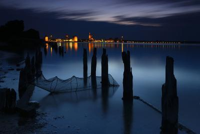 View Above the Strelasund on Stralsund at Night, Mecklenburg-West Pomerania, Germany-Andreas Vitting-Photographic Print