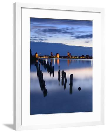 View Above the Strelasund on Stralsund at Night, Mecklenburg-West Pomerania, Germany-Andreas Vitting-Framed Photographic Print