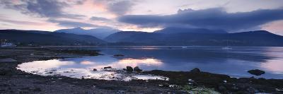 View across Brodick Bay to Beinn Tarsuinn and Goatfell at Sunset, Arran, North Ayrshire, Scotland-Peter Thompson-Giclee Print