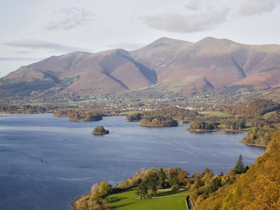 View Across Derwent Water to Keswick and Skiddaw from Watendlath Road in Autumn-Pearl Bucknall-Photographic Print