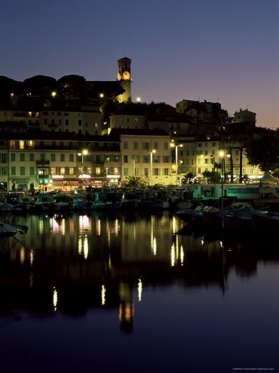 View Across Harbour to the Old Quarter of Le Suquet, at Night, Cannes, French Riviera, France-Ruth Tomlinson-Photographic Print