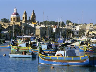 View across Harbour with Traditional Luzzu Fishing Boats, Marsaxlokk, Malta, Mediterranean, Europe-Stuart Black-Photographic Print