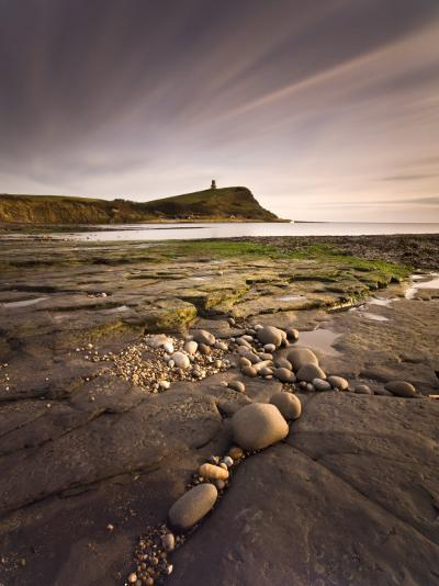 View across Kimmeridge Bay at Dusk Towards Hen Cliff and Clavell Tower, Perbeck District, Dorset-Lee Frost-Photographic Print