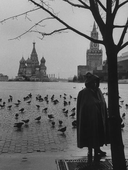 View Across Red Square of St. Basil's Cathedral and the Kremlin-Howard Sochurek-Photographic Print