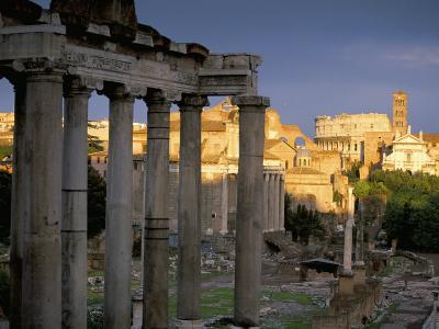 View Across Roman Forum Towards Colosseum and St. Francesca Romana, Rome, Lazio, Italy-John Miller-Photographic Print