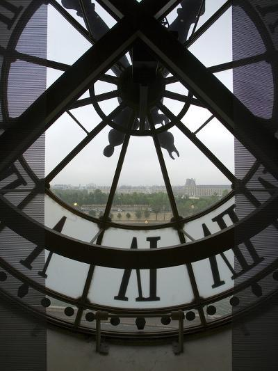 View Across Seine River Through Transparent Face of Clock in the Musee d'Orsay, Paris, France-Jim Zuckerman-Photographic Print