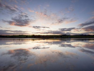 View across the Aln Estuary at Sunset, Alnmouth, Near Alnwick, Northumberland, England-Lee Frost-Photographic Print