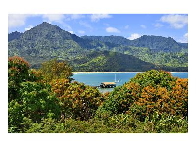 View across the Bay at Hanalei Beach, Island of Kauai, Hawaii, USA--Art Print