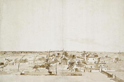 View across the Garden of the Villa Loredan (Pen and Brown Ink with Brown Wash on White Paper)-Francesco Guardi-Giclee Print