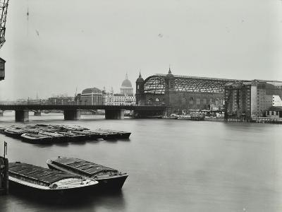 View across the Thames to Cannon Street Station, London, 1958--Photographic Print