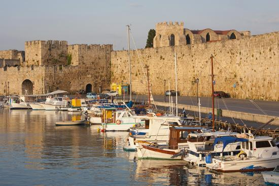 View across Tranquil Kolona Harbour to the City Walls, Dodecanese Islands-Ruth Tomlinson-Photographic Print