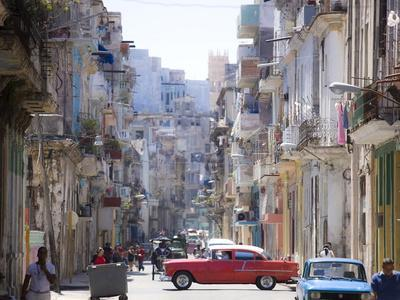 View Along Congested Street in Havana Centro, Cuba-Lee Frost-Photographic Print