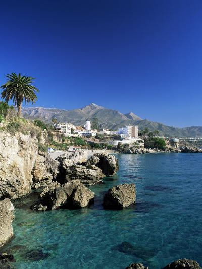 View Along Rock Coast to Town and Mountains, Nerja, Malaga, Andalucia, Spain, Mediterranean-Ruth Tomlinson-Photographic Print