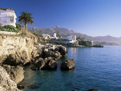 View Along Rocky Coast to Town and Mountains, Nerja, Malaga Area, Costa Del Sol, Andalucia, Spain-Ruth Tomlinson-Photographic Print