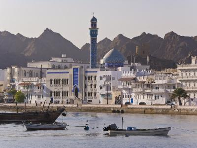 View Along the Corniche, Latticed Houses and Mutrah Mosque, Mutrah, Muscat, Oman, Middle East-Gavin Hellier-Photographic Print