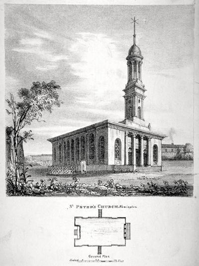 View and Ground Plan of the Church of St Peter Newington, Southwark, London, 1824-P Simonau-Giclee Print