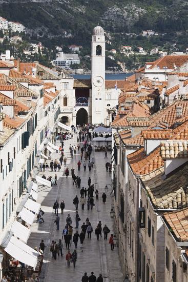 View Down Stradun, UNESCO World Heritage Site, Dubrovnik, Croatia, Europe-Jean Brooks-Photographic Print