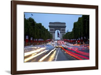View Down the Champs Elysees to the Arc De Triomphe, Illuminated at Dusk, Paris, France, Europe-Gavin Hellier-Framed Photographic Print