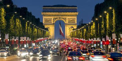 View Down the Champs Elysees to the Arc De Triomphe, Illuminated at Dusk, Paris, France-Gavin Hellier-Photographic Print