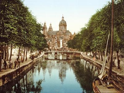 View Down Voorburgwal to Sint-Nicolaasbasiliek, Amsterdam, Pub. C.1900--Giclee Print