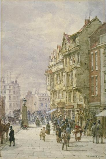 View East Along Holborn with Figures and Horse-Drawn Vehicles on the Street, London, 1875-Louise Rayner-Giclee Print