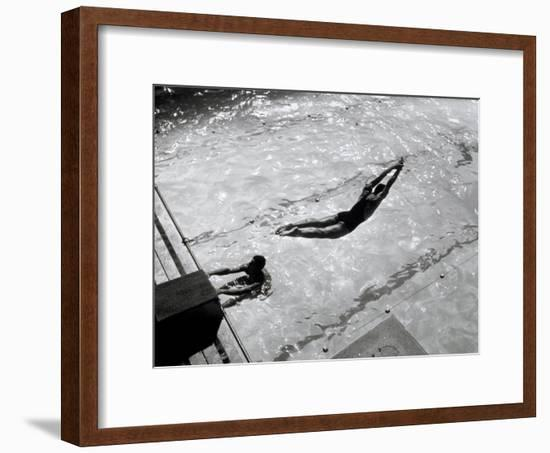 View from Above of a Swimmer Diving-A. Villani-Framed Photographic Print