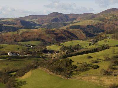 View from Castell Dinas Bran Towards Llantysilio Mountain and Maesyrychen Mountain, Wales-John Warburton-lee-Photographic Print