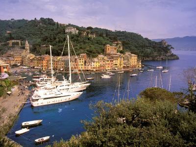 View from Chiesa S. Giorgio, Riviera di Levante, Liguria, Portofino, Italy-Walter Bibikow-Photographic Print
