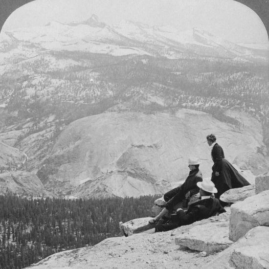 View from Clouds Rest over the Little Yosemite Valley to Mount Clark, California, USA, 1902-Underwood & Underwood-Photographic Print
