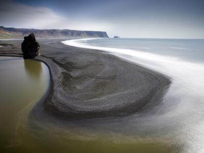 View From Dyrholaey Towards the Volcanic Sand Beach and Rock Stacks at Reynisdrangar, Iceland-Lee Frost-Photographic Print